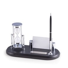 Black Wood and Chrome Plated Pen Stand with 3 Minute Sand Timer and Business Card Holder
