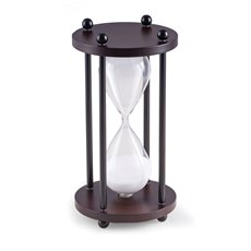 Walnut Wood 10 Minute Sand Timer with White Sand and Black Posts
