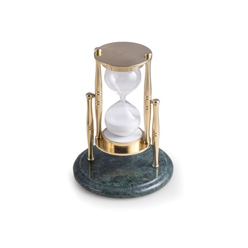 Green Marble 30 Minute Sand Timer with Brass Accents