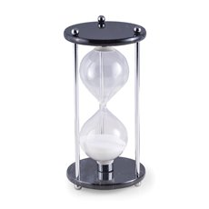 Black Marble 60 Minute Sand Timer with Chrome Accents