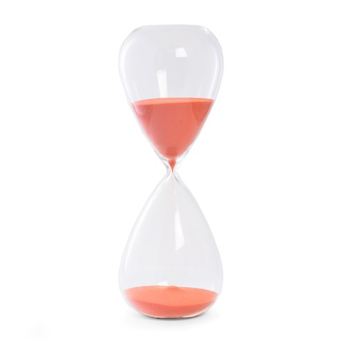 90 Minute Crystal Sand Timer with Red Orange Sand