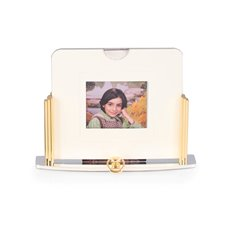 Two Tone, Gold and Silver Plated Picture Frame with Openings for Both 4x4 and 3x35 Pictures (front and rear)