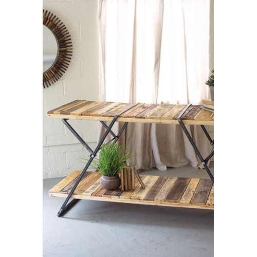 Reclaimed Wood Two Tiered Display Tables with Folding Iron Base