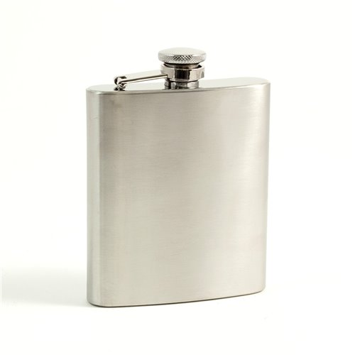 7 oz Stainless Steel Flask in a Satin Finish with Captive Cap and Durable Rubber Seal