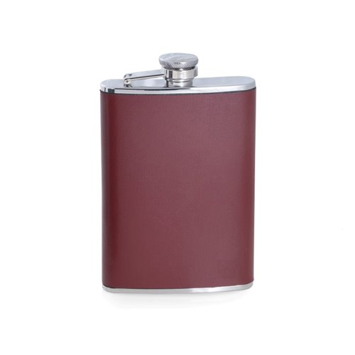 8 oz Stainless Steel Burgundy Leather Flask with Captive Cap and Durable Rubber Seal