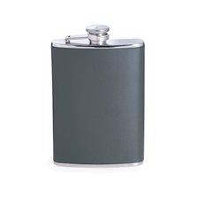 8 oz Stainless Steel Forest Green Leather Flask with Captive Cap and Durable Rubber Seal