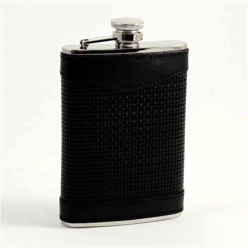 8 oz Stainless Steel Black Leather Woven Flask with Captive Cap and Durable Rubber Seal