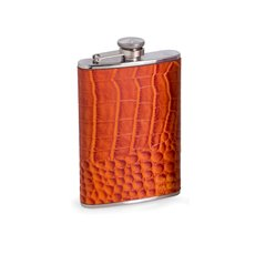 8 oz Stainless Steel Orange Croco Leather Flask with Captive Cap and Durable Rubber Seal