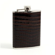 6 oz Stainless Steel Brown Croco Leather Flask with Captive Cap and Durable Rubber Seal