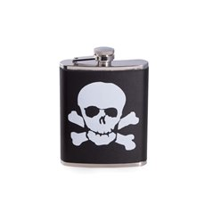 6 oz Stainless Steel Black Leather Skull and Bones Flask with Captive Cap and Durable Rubber Seal