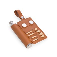2 oz Stainless Steel Tan Leather Flask with 4 Tee's, 2 Ball Marker's, Divot Tool and Hanging Strap