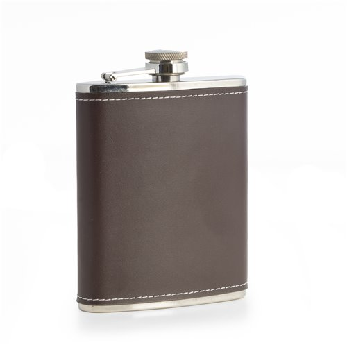 6oz Stainless Steel Brown Leather Flask with Contrast Stitching