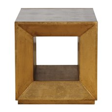 Uttermost Flair Gold Cube Table