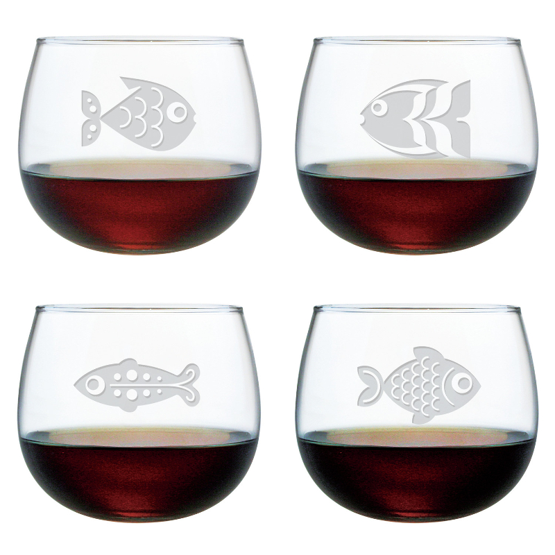 Fish Assortment Etched Stemless Wine Glass Set