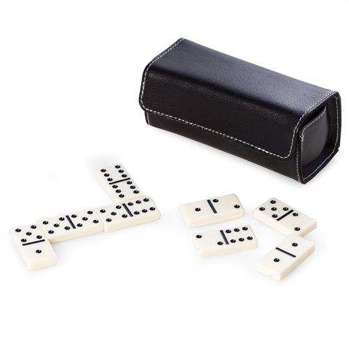 Domino Set in Black Leather Case with Magnetic Closure