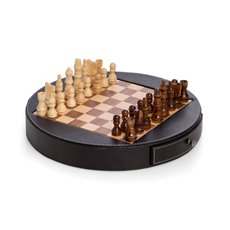 Chess Set in Wood with Black Leather Wrapped Around the Playing Board with Drawer for Game Pieces Game Pions in Wood