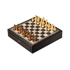 Carbon Fiber and Mother of Pearl Design Chess Set with Accessory Drawers and Weighed Pions