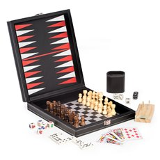 Black Leatherette 5 in 1 Game Set