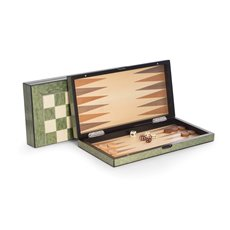 Lacquer Finished 155 Green Inlaid Wood Backgammon and Chess Set