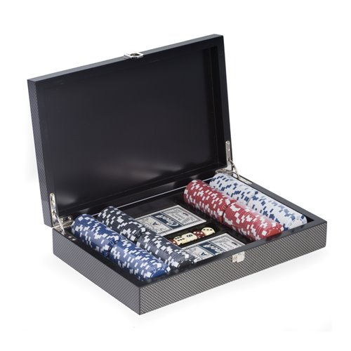 Poker Set with 200 Chips, Two Decks of Cards and 5 Poker Dice in Case and Chrome Plated Hardware