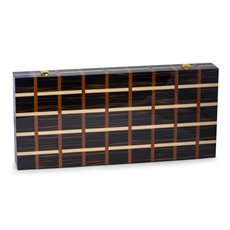 Art Deco Design 21 Backgammon Set with Multi-Color Wood Inlay and Brass Hardware