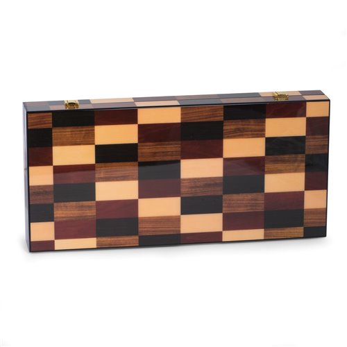 Art Deco Design 18 Backgammon Set with Multi-Color Wood Inlay and Brass Hardware