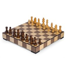 Matted Inlay Chess and Checkers Set with Storage Drawer