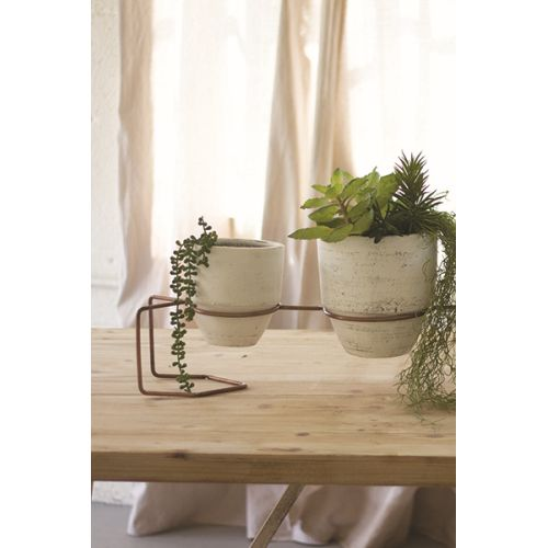 White Washed Clay Planters With Copper Finish Base Set of 3