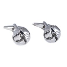 Rhodium Plated Cufflinks with Classic 'Knot' Design