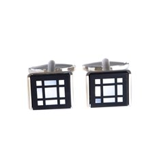 Rhodium Plated Cufflinks with Black 'Onyx' and Mother of Pearl Square Design