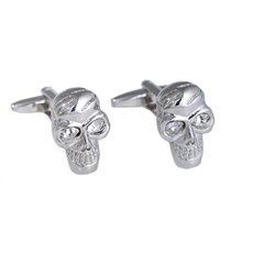 Rhodium Plated Scull Design Cufflink with Crystal Accents