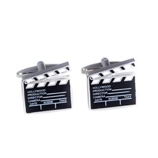 Rhodium Plated Movie Clapper Board Cufflinks with Black and White Enamel Accents