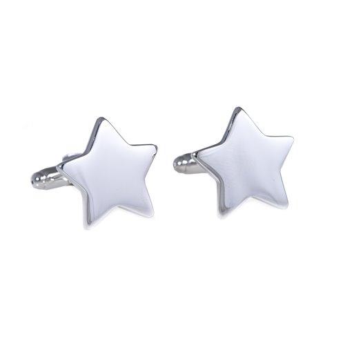 Rhodium Plated Star Design Cufflinks