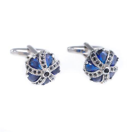 Rhodium Plated Blue Crown Cufflinks