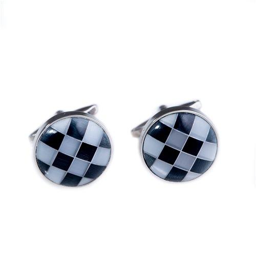 Rhodium Plated Grey and Black Semi Precious Stone Cufflinks