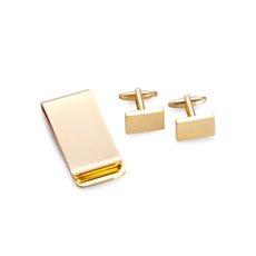 Gold Plated Rectangular Design Cufflinks and Money Clip Set