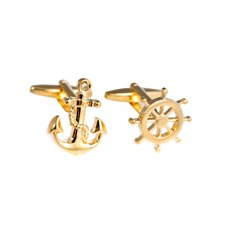 Gold Plated Cufflinks Ships Anchor and Wheel