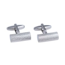 Rhodium Plated Cufflinks Round Bar