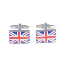 Rhodium Plated Cufflinks with Union Jack Design