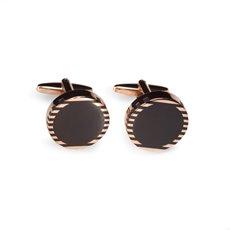 Rose Gold and Black Onyx Round Cufflinks