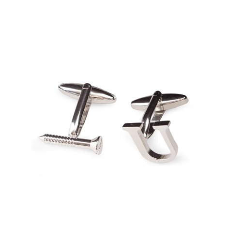 Rhodium Plated Screw U Design Cufflinks