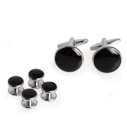 Black Enameled, Rhodium Plated Cufflinks and Studs Set