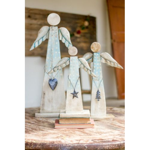 Painted Recycled Wood Angels On Stand Set of 3