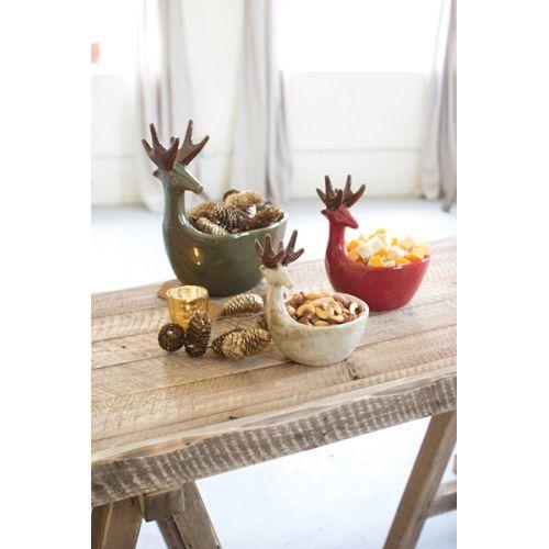 Ceramic Deer Bowls - One Each Color Set of 3