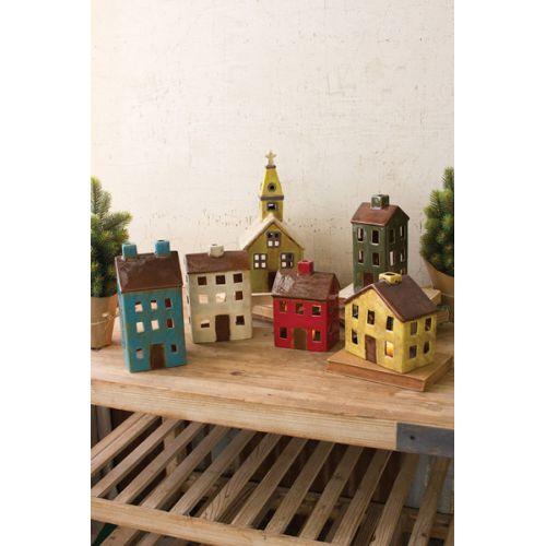 Ceramic Village - One Each Design Set of 6