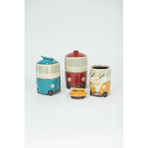 Ceramic Van Canisters With Surfboard Handles Set of 3