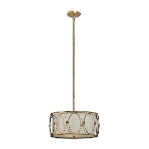 Uttermost Ovala 3 Light Gold Drum Pendant
