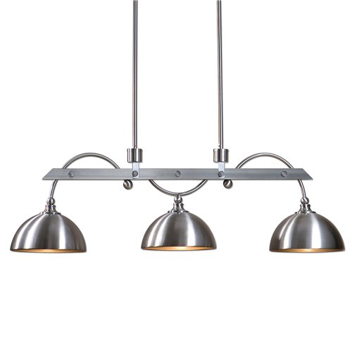 Uttermost Malcolm 3 Light Nickel Industrial Island Light