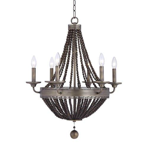 Uttermost Thursby Brass 6 Light Beaded Chandelier