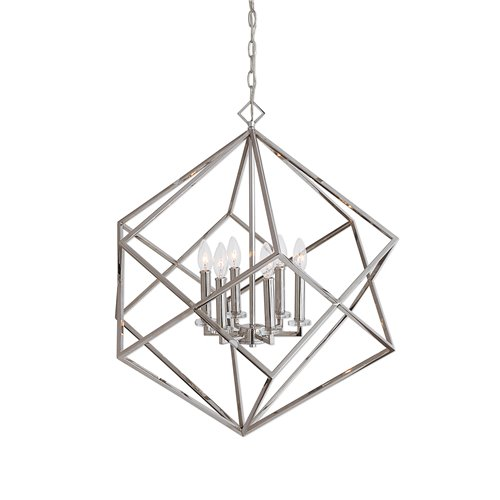 Uttermost Euclid 6 Light Nickel Cube Pendant